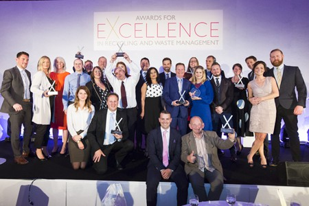 2017 winners on stage with presenter Gethin Jones and letsrecycle.com editor Steve Eminton at the 2017 Awards for Excellence