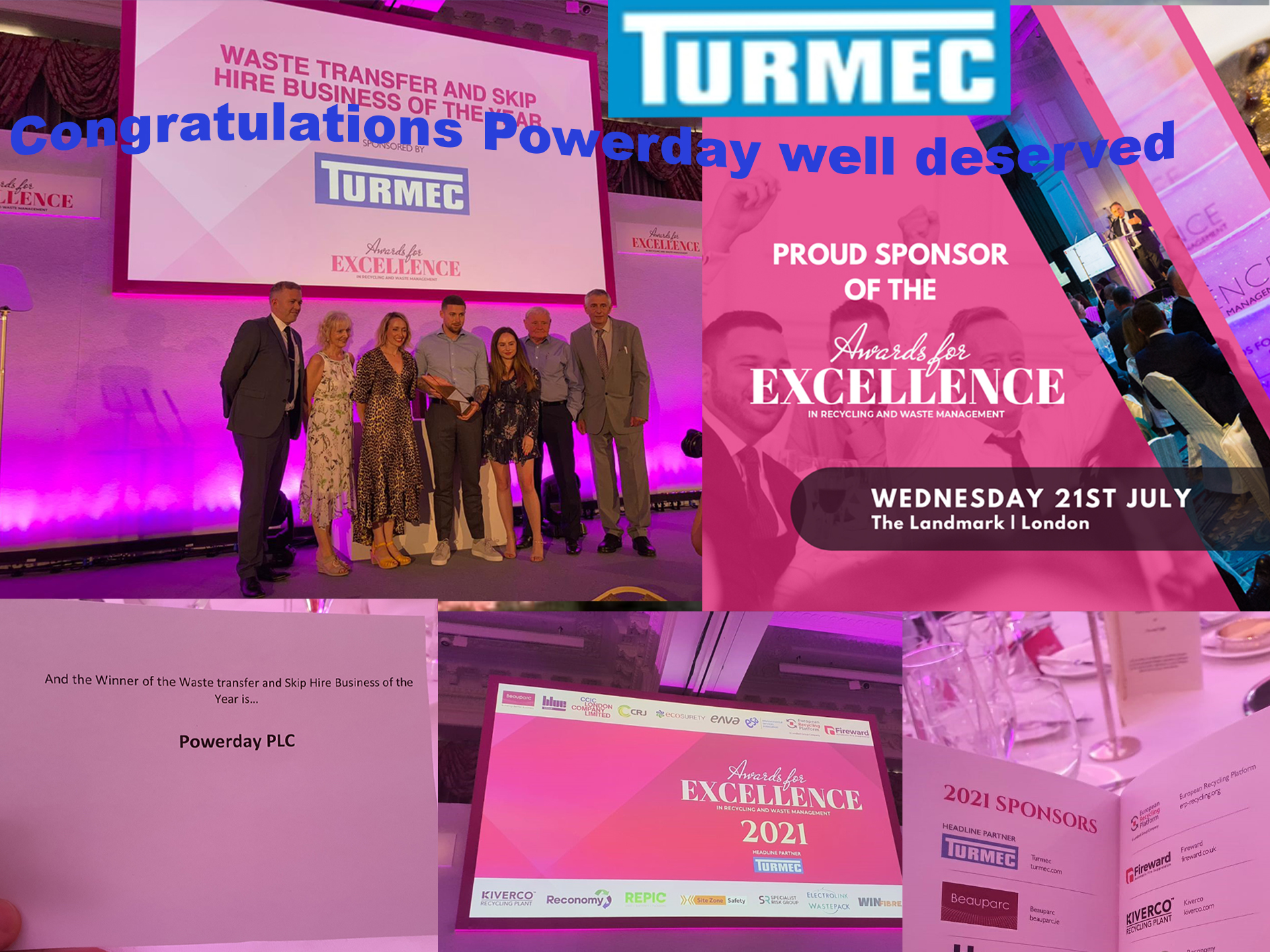 Turmec proud to be headline Partner at let's recycle awards of excellence 2021